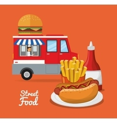 Hot dog and fast food design vector