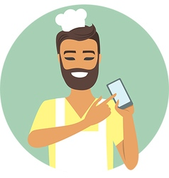 chef with mobile device in his hand vector image