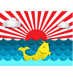 Fish swimming in the sea with sunshine for summer vector