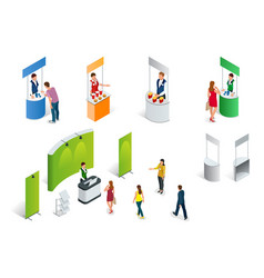 Isometric set of promotion stands on a white vector