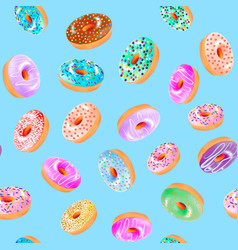 A seamless background with donuts with a fruit vector