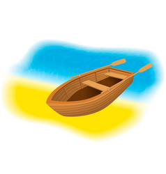 Wood rowboat with oars on the beach sailing boat vector