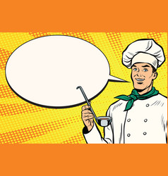 caucasian chef with ladle for cooking comic vector image