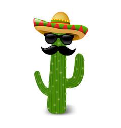 Mexican cactus sunglasses vector