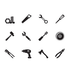 Silhouette different kind of tools icons vector