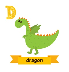 Dragon d letter cute children animal alphabet in vector