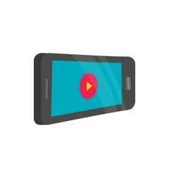 Tablet with player icon cartoon style vector