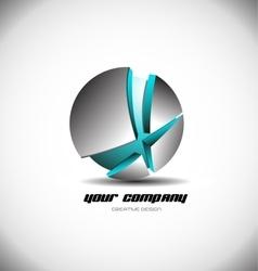 Metallic blue 3d sphere broken logo icon vector