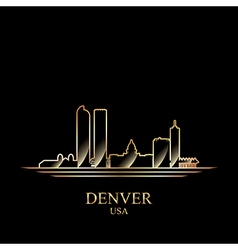 Gold silhouette of Denver on black background vector image