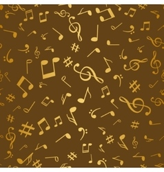 Abstract golden music notes seamless pattern vector image vector image
