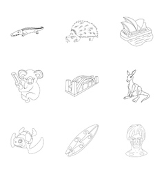 Attractions of Australia icons set outline style vector image vector image