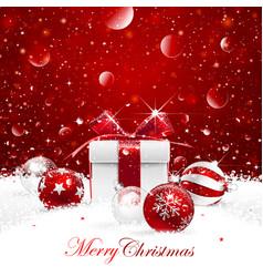christmas gift with balls vector image vector image