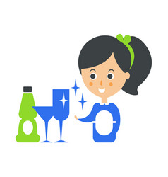 Cleanup service maid and clean glasses cleaning vector