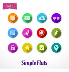 Colorful flat icons set vector image vector image