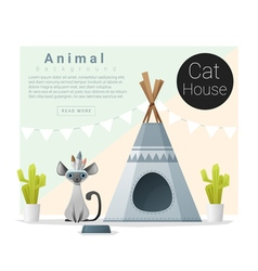 Cute animal collection cat house 1 vector