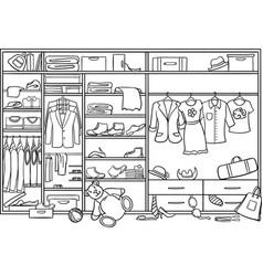 Doodle family wardrobe mess concept vector