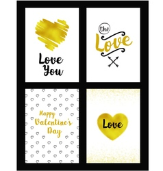 Gold set of valentines day card vector