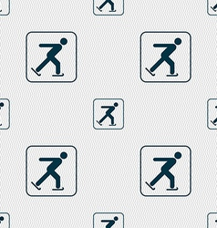 Ice skating sign Seamless pattern with geometric vector image vector image