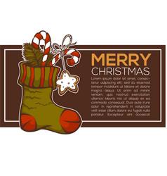 knitting socks full of christmas presents vector image
