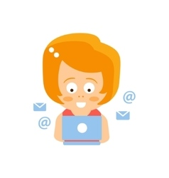 Little red head girl in red dress reading e-mail vector