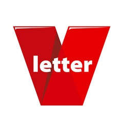 logo the letter V in the form of red tape vector image vector image