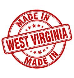 Made in west virginia red grunge round stamp vector
