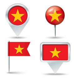 Map pins with flag of Vietnam vector image vector image
