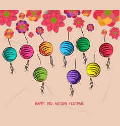 Mid autumn festival blooming flower and lantern vector