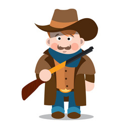 Middle aged man with a gun in jeans a long coat vector