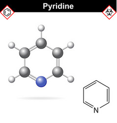 Pyridine organic solvent molecular structure vector image vector image