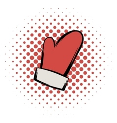 Red mitten comics icon vector