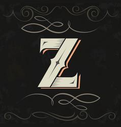 Retro style western letter design letter z vector