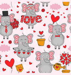 seamless pattern with elephant in love in color vector image