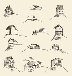 Set of hand drawn rural houses vector