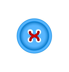sewing button in blue design with sewing thread vector image