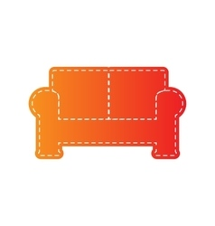 Sofa sign orange applique isolated vector