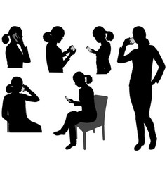 Woman with cellphone vector
