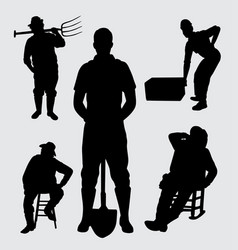 worker people silhouette vector image vector image