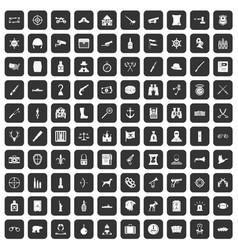 100 guns icons set black vector