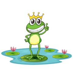 Happy King Cartoon Frog vector image