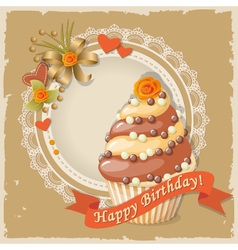 Scrapbooking birthday card with cupcake vector image