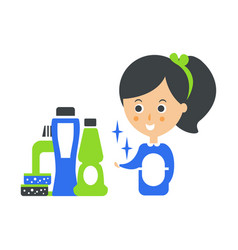 Cleanup service maid and set of household vector