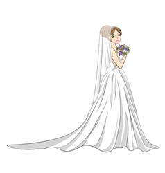 Bride with bouquet vector