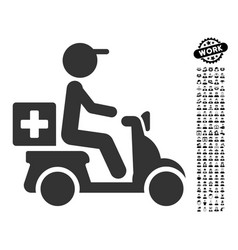 Drugs motorbike delivery icon with professional vector