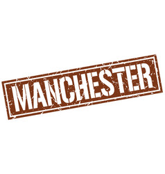 Manchester brown square stamp vector