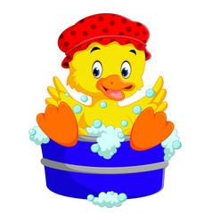 Funny duck cartoon vector