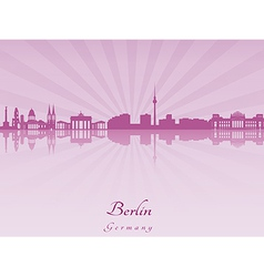 Berlin skyline in purple radiant orchid vector image
