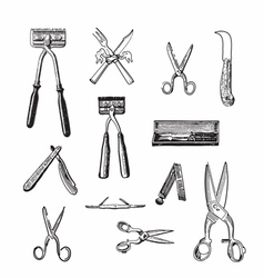 Antique hairdresser set vector