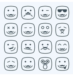 Thin line emotional moustache square yellow faces vector