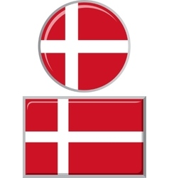 Danish round and square icon flag vector image